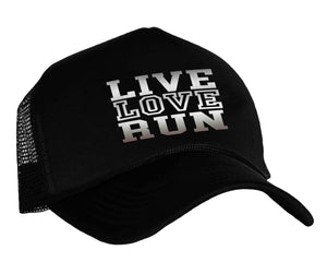 Runner's safety reflective snapback cap with graphic Live Love Run