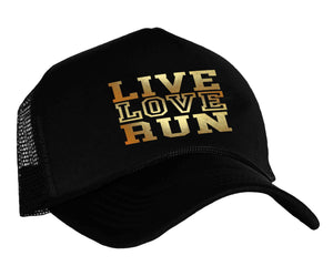 Live Love Run Snapback cap in black and gold