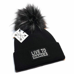 Live To Dance Beanie Hat in black and silver with faux fur pom pom