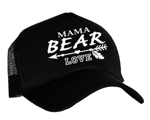 Mama Bear Love trucker hat in black and white