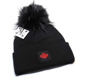 Canada Maple Leaf Toque in black and red with large faux fur pom pom