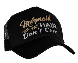 Mermaid Hair Don't Care Trucker Hat in black, gold and silver