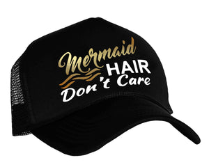 Women's trucker hat with graphic Mermaid Hair Don't Care in black, white and gold