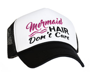 Mermaid Hair Don't Care Snapback Trucker Cap in black, white and pink
