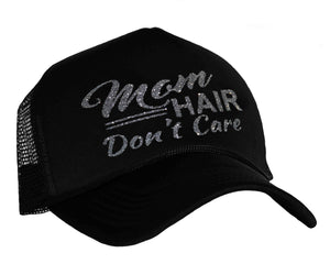 Mom Hair Don't Care Snap back Trucker Hat in black and charcoal