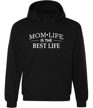 Mom Life Is The Best Life graphic hoodie in black and white