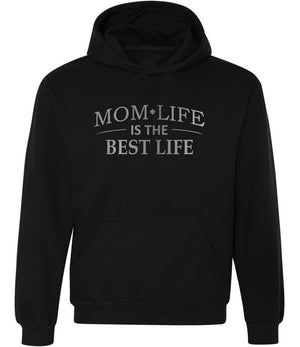 Mom Life Is The Best Life graphic hoodie in black and silver