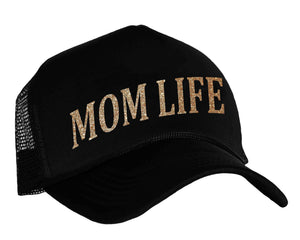 Mom Life Snapback Trucker Hat in black and gold