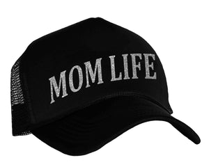 Mom Life Trucker Cap in black and silver