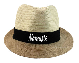 Namaste Fedora hat in black and white