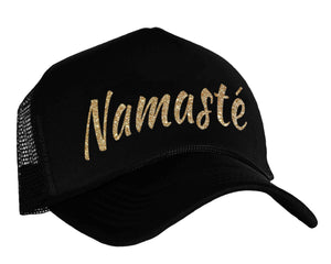 Namaste Snapback Cap in black and gold