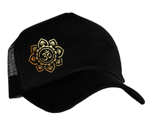 Om Yoga Snapback Trucker Cap in black and gold