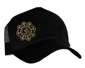 Om Yoga Trucker Hat in black and gold