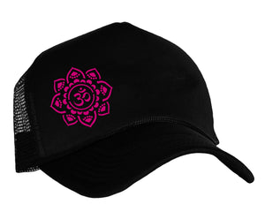 Om Yoga Trucker Cap in black and pink