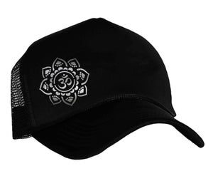 Om Yoga snap back trucker hat in black and silver