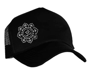 Ome Yoga snap back trucker cap in black and silver