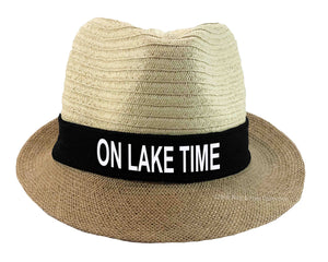On Lake Time Fedora hat in black, and white