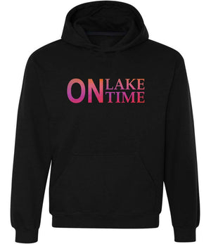 On Lake Time Graphic Hoodie in black,pink and orange