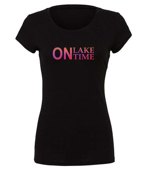"Ladies graphic t-shirt ""On Lake Time"" in black and pink"