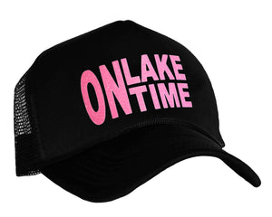 On Lake Time Trucker Hat in black and pink