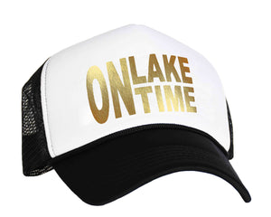 On Lake Time Snap back Trucker Cap in black, white and gold