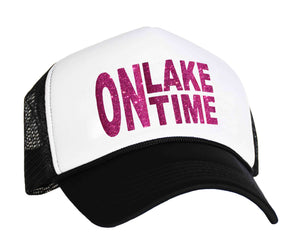 On Lake Time Snapback Trucker Hat in black, white and pink