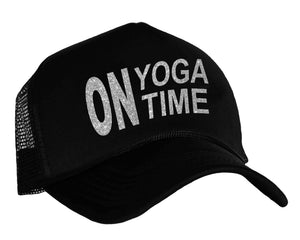 On Yoga Time Snapback Trucker Hat in black and silver