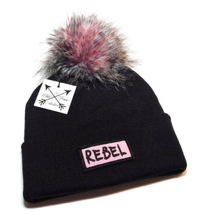 Rebel Beanie hat in black and pink with faux fur pom pom