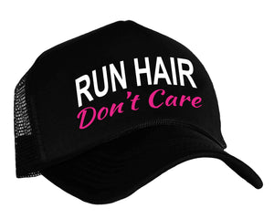 Run Hair Don't Care Snapback Trucker Cap in black, white and pink