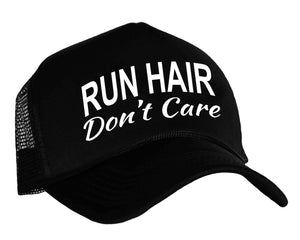Runner's Snapback Cap with graphic Run Hair Don't Care in black and white