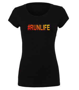 "Women's running graphic t-shirt ""#Runlife"""