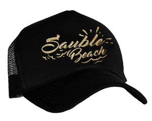 Sauble Beach Snapback trucker hat in black and gold