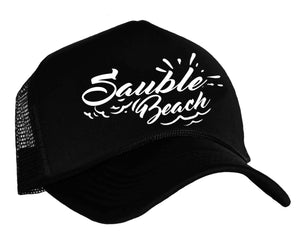 Sauble Beach Trucker Hat in black and white