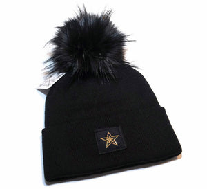 Star Beanie Toque in black and gold with faux fur pom pom