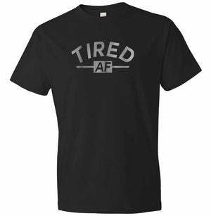 Tired AF graphic t-shirt in black and silver