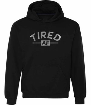 Tired AF graphic hoodie in black and silver