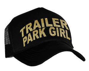 Trailer Park Girl snapback cap in black and gold
