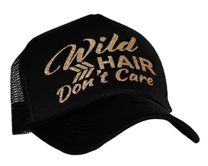 Wild Hair Don't Care Snap back trucker Cap in black and gold