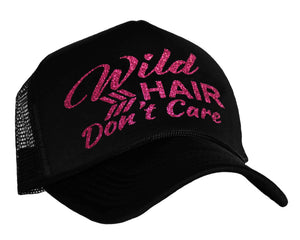 Wild Hair Don't Care Trucker Hat in black and pink