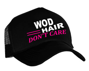 WOD Hair Don't Care Snap back trucker cap in Black, white and pink