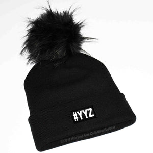#YYZ Winter toque with large faux fur pompom in black and white