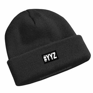 #YYZ Winter Beanie Hat in black and white