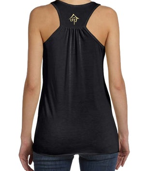 Yoga Life tank top in black and gold back view with Life Symbol