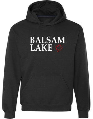 Balsam Lake Graphic Hoodie in black with red Canadian Maple Leaf