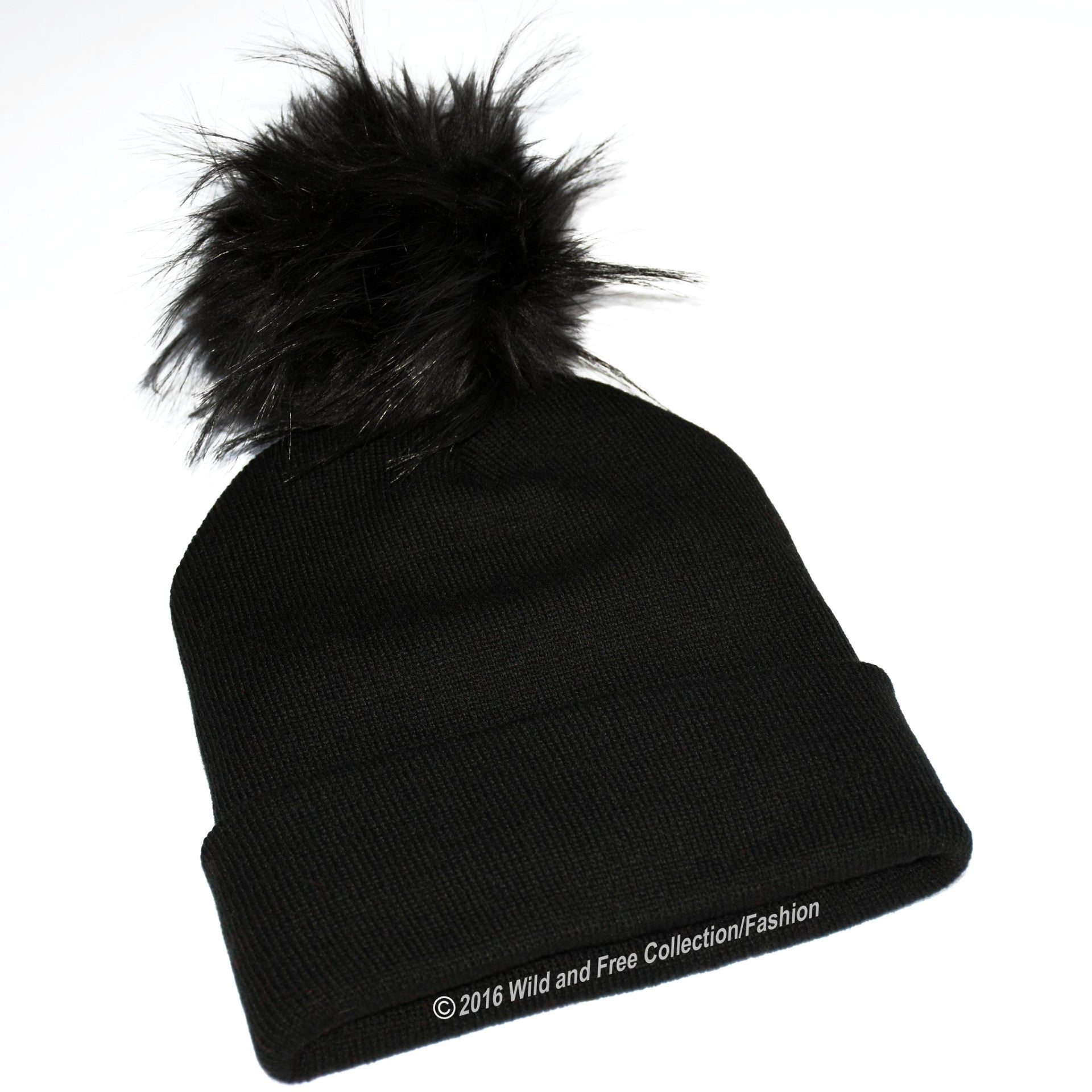 Winter beanie toque with faux fur pom pom ... ad0e68dbbf3