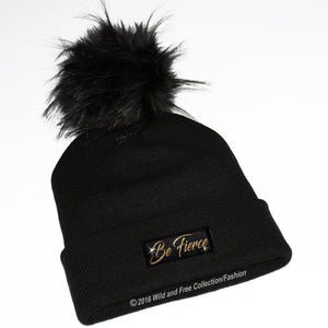 faux fur pom pom toque with graphic be fierce