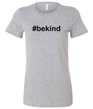 Ladies #bekind t-shirt in grey and black