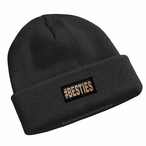 #besties beanie toque in black and gold