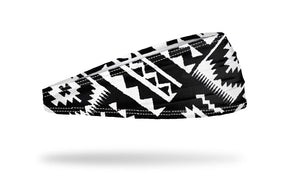 black and white headband for yoga, running, workouts, fitness. aztec print