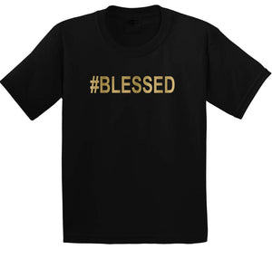 Kids graphic t-shirt #BLESSED in black and gold